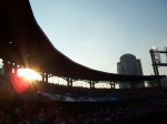 Busch Stadium at sunset